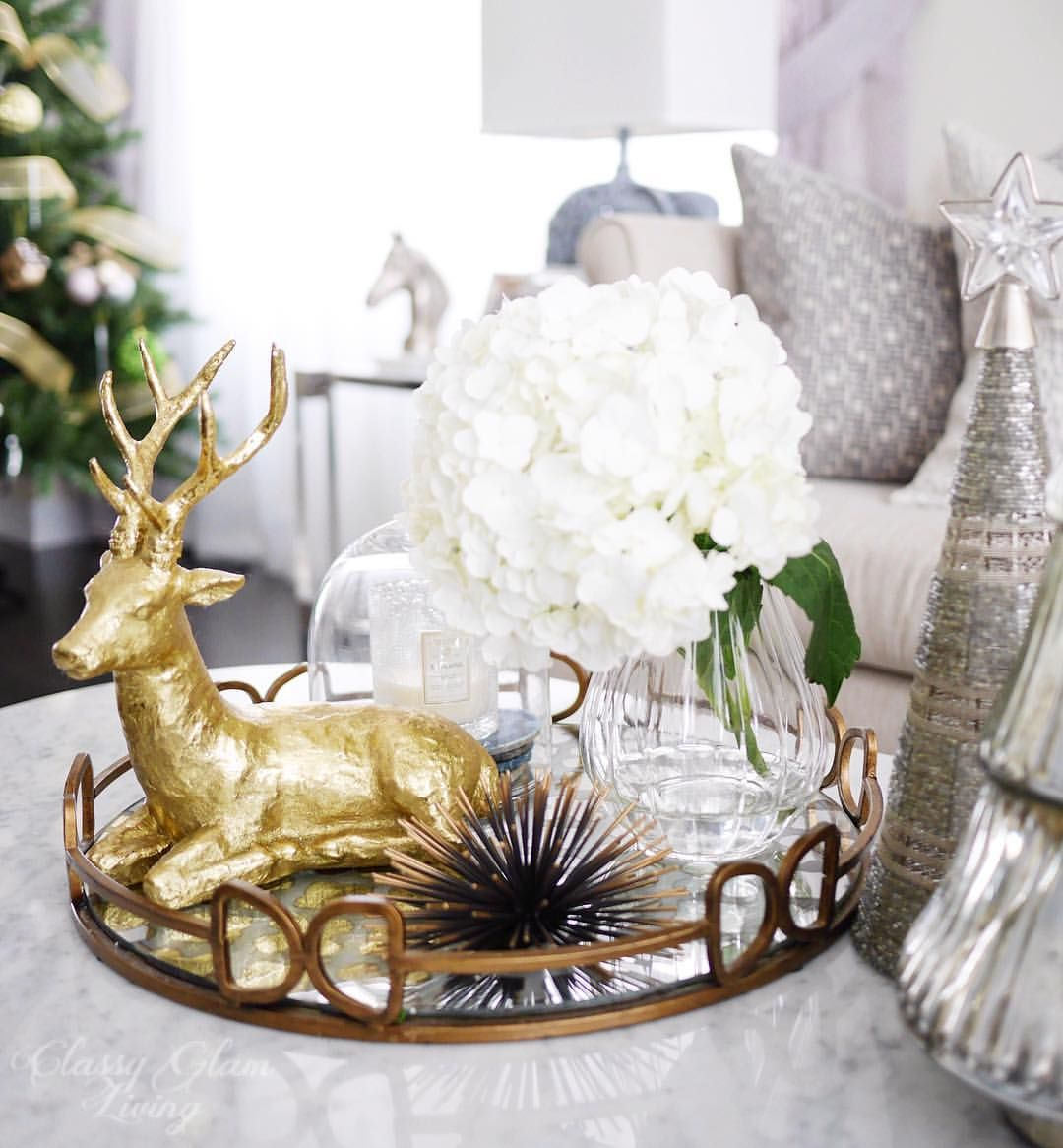 Christmas Tray Styling Coffee Table Living Room Family Room Gold Rei Christmas Coffee Table Decor Coffee Table Decor Tray Christmas Decorations Living Room