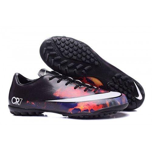 3358fb5c6bf4e 2016 Nike Mercurial CR7 TF Botas De Futbol Bajo Rojo Negro