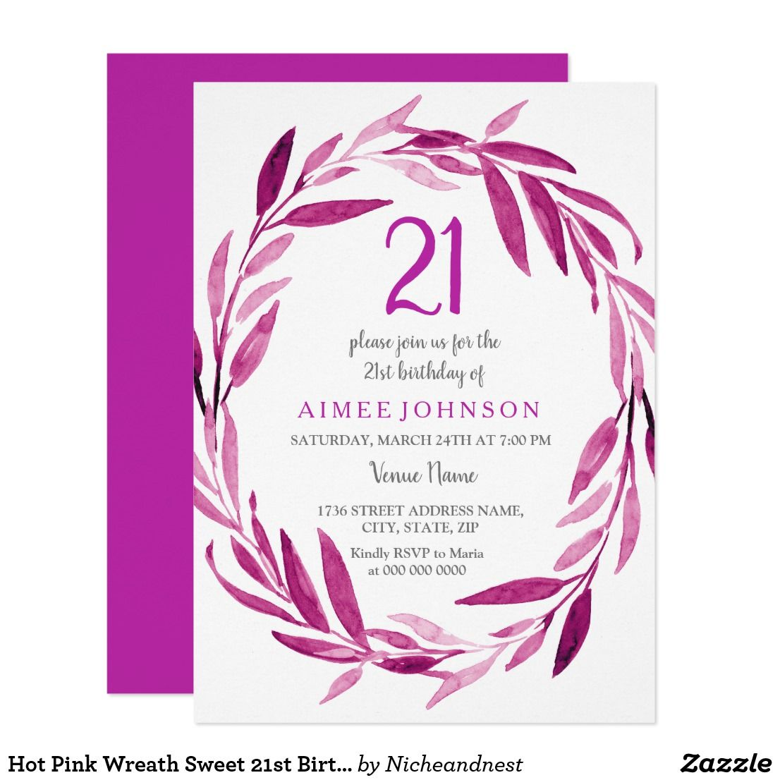 Hot Pink Wreath Sweet 21st Birthday Party Invite | { Happy Birthday ...