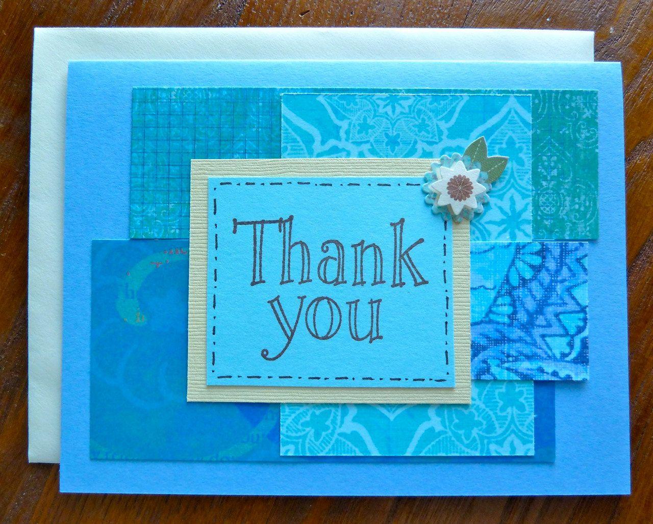 Thank You Card Handmade Thank You Card Ladybug Card Pretty Blue