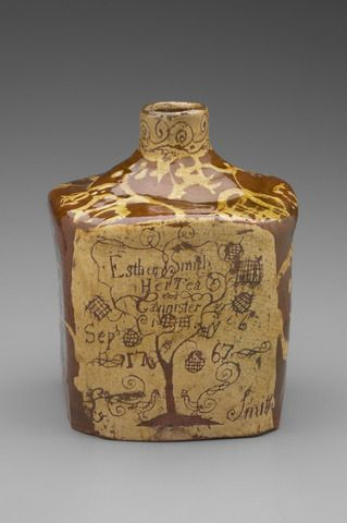 TeaCaddy  Maker: Joseph Smith, American, 1731–1777 Tea Caddy 1767  Earthenware with white slip decoration 17.2 x 12.7 x 12.7 cm (6 3/4 x 5 x 5 in.) - See more at: http://artgallery.yale