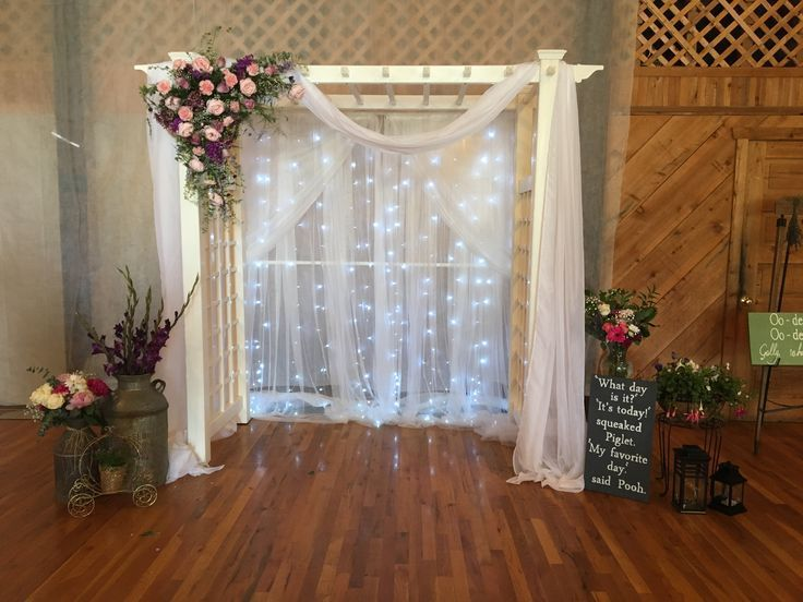 Lighted Wedding Arch  Disney Wedding theme Backdrop was PVC pipe arch lights w #pvcpipebackdrop Lighted Wedding Arch  Disney Wedding theme Backdrop was PVC pipe arch lights w #pvcpipebackdrop