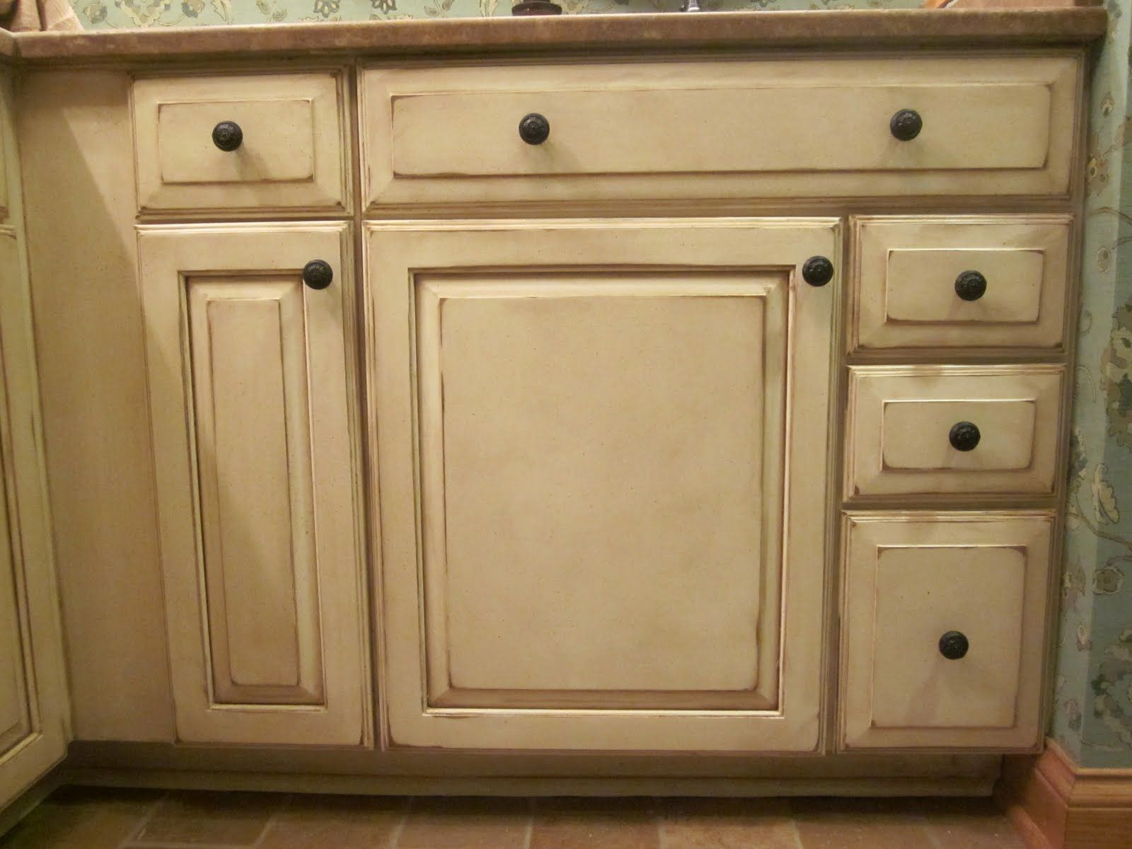 Dixon specialty finishes llc louisville faux hand painted cabinets before and after - Antique white cabinets with black glaze ...