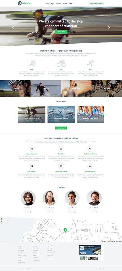 Template 54998 - Triathlon Club Responsive Website Template with ...