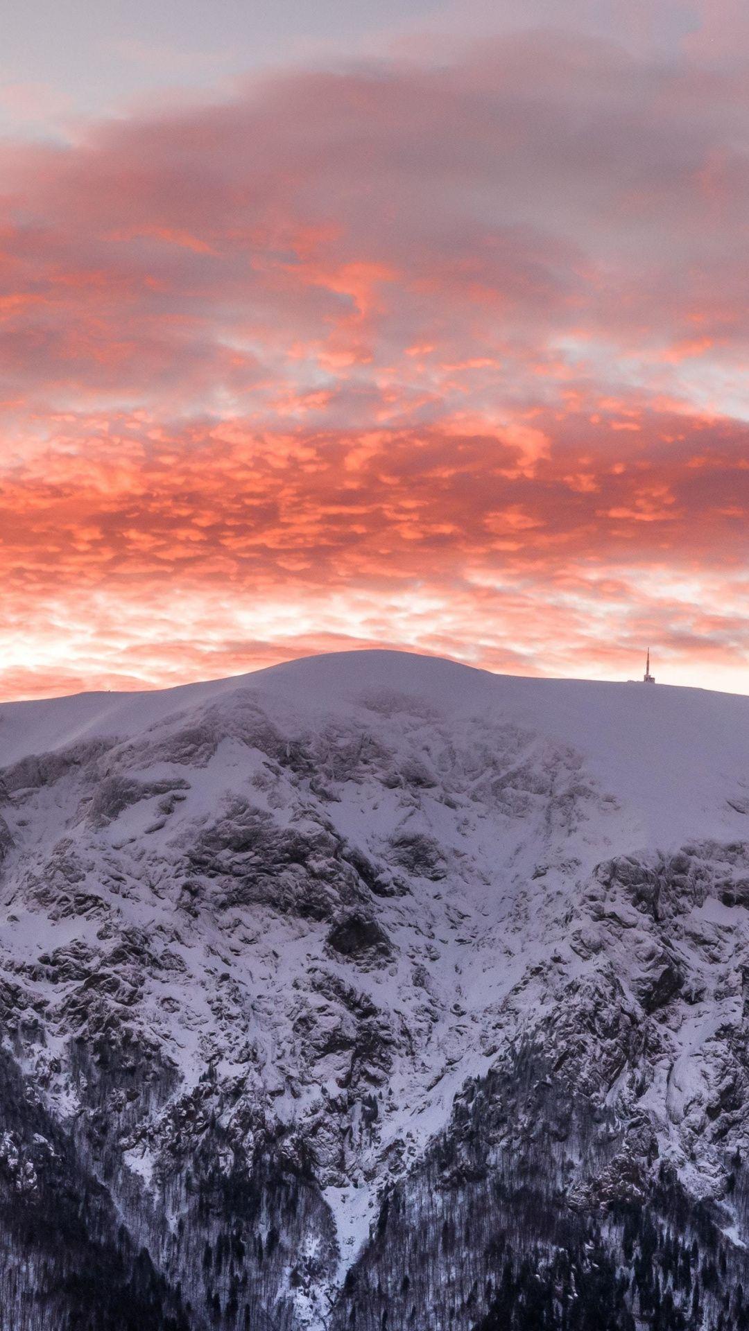 1080x1920 Winter Glacier Mountains Sunset Wallpaper Sunset