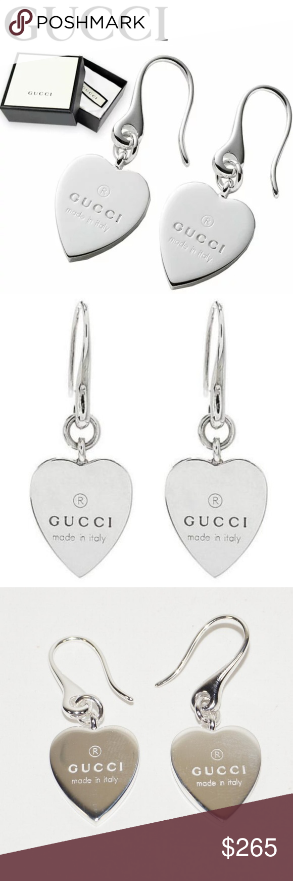 5fbd9328f GUCCI TRADEMARK HEART 925 ST SILVER DROP EARRINGS BRAND NEW Authentic GUCCI  DROP EARRINGS - BEAUTIFUL