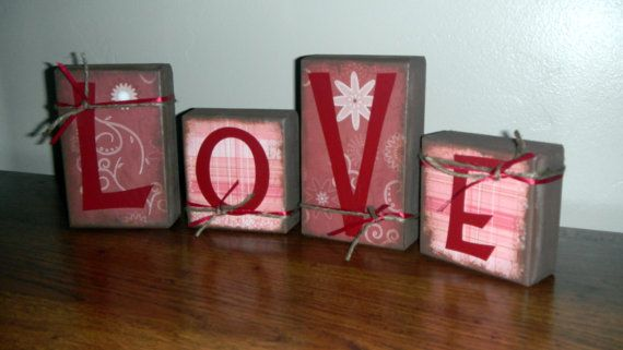 LOVE blocks    Perfect for Valentine's Day by SuziShoppe on Etsy, $16.99