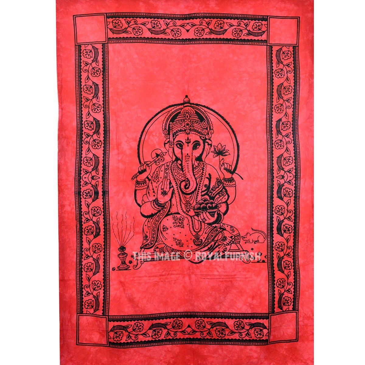 Red Hindu Elephant God Ganesha Tapestry Wall Hanging Fringed Wall Tapestry Royalfurnish Com Elephant God Hindu Elephant Elephant God Ganesha