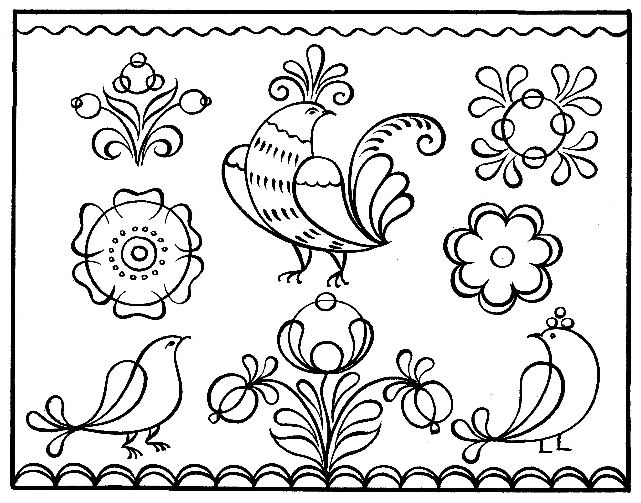 Днем рождения, русский орнамент картинки раскраски
