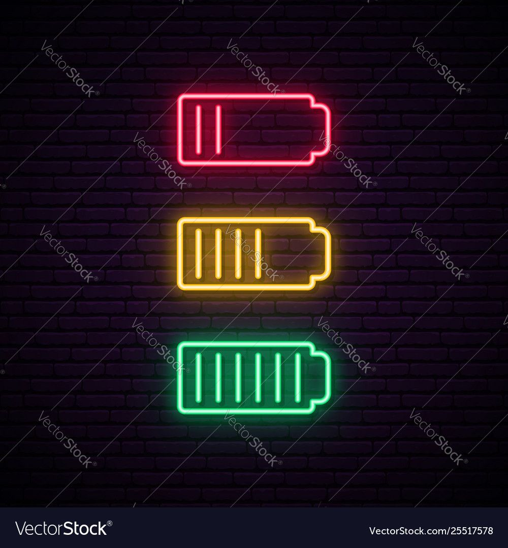 Set battery neon icon charger glowing sign Vector Image in