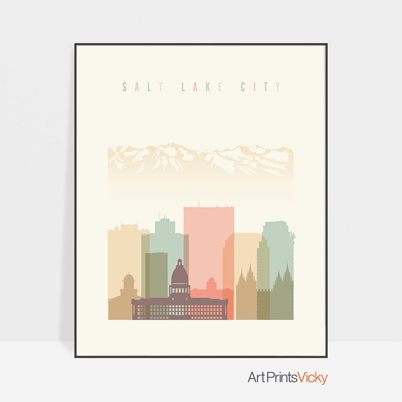 Salt Lake City Utah Homes: Salt Lake City Wall Art Print, Utah Cityscape, Salt Lake