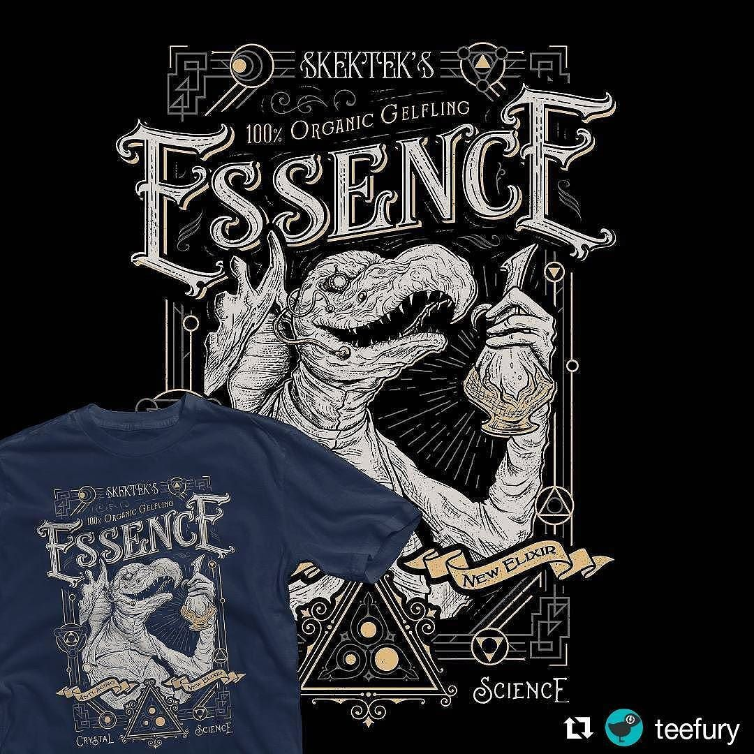 "#Repost @teefury  DAILY TEE | ""The Essence Elixir"" by @barrettbiggers & @ArtbyJP available for $12 today at #TeeFury!  Shop now!  You can get JP and my #darkcrystal inspired #vintage #rustic #victorian #shirt #tshirt #design on teefury today! Thank you! #graphicdesign #artwork #80s #movie #film #comics #skeksis"