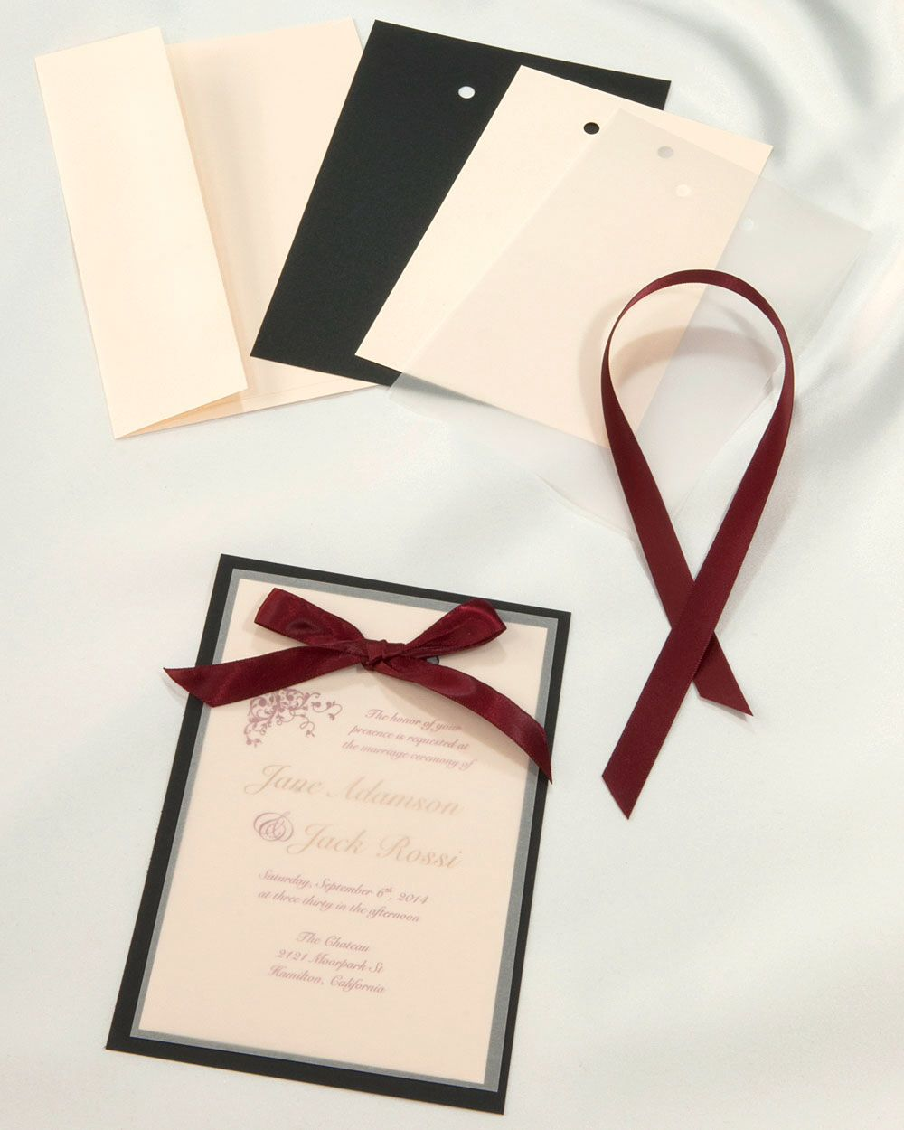obsidian black and burgundy layered invitations diy