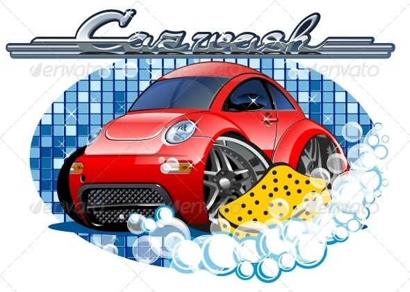 Car Washing Sign With Sponge With Images Car Wash Car Vector