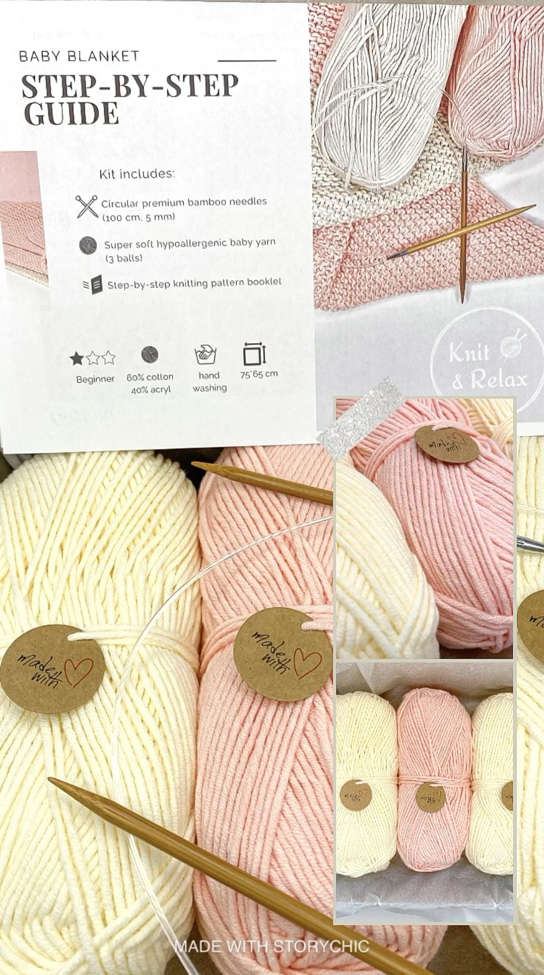 Photo of Knit kit to make kid blanket for girl easy knitting level