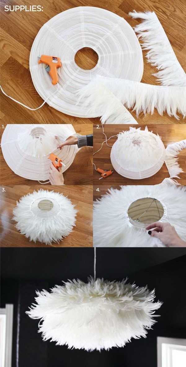 DIY Chic White Feather Chandelier This Really Tops Off The Look And Feel Of Dining Space Learn How To Do