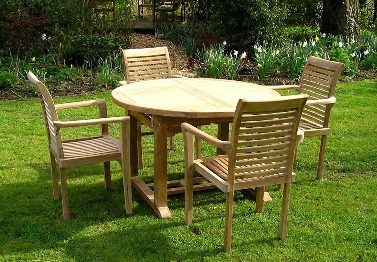 Garden Furniture Sets Uk round extending teak table 120-180 furniture set with lovina
