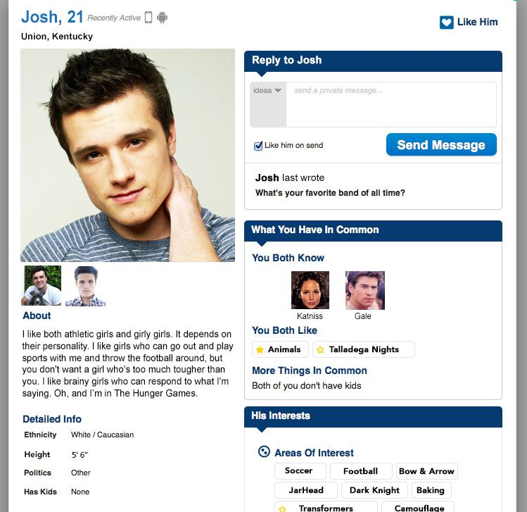 dating site profile interests