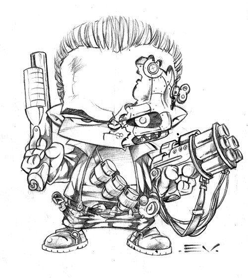 Terminator 1 Badass Drawings Cartoon Drawings Graffiti Characters