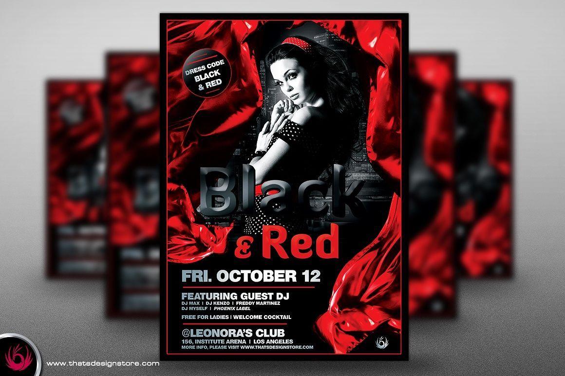 Black And Red Flyer Poster Template V2 Flyer Template Black And Red Flyer