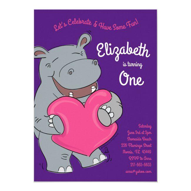 Hippo Hugs Heart Cute Kids 1st Birthday Party Invi