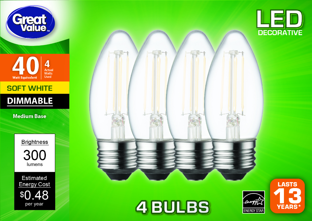 Buy Great Value Led Light Bulb 4w 40w Equivalent B10 Decorative Lamp E26 Medium Base Dimmable Soft White 4 Pack At Walmart Led Light Bulb Bulb Led Lights