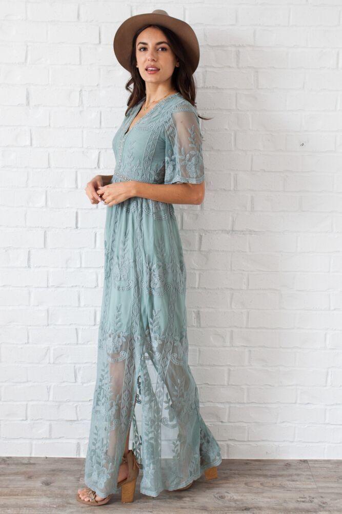 Caribbean Wedding Maxi Dress in Sage | Bridal Party Attire ...