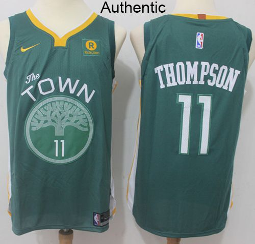 3fe8b69af Nike Warriors  11 Klay Thompson Green NBA Authentic Jersey