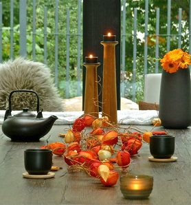 guten abend mit heissem tee tischdeko herbst autumn candles kerzen tee tea foto. Black Bedroom Furniture Sets. Home Design Ideas
