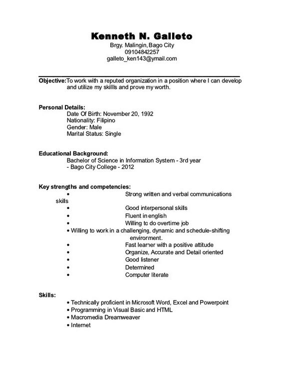 Student Resume Sample Filipino Student resume