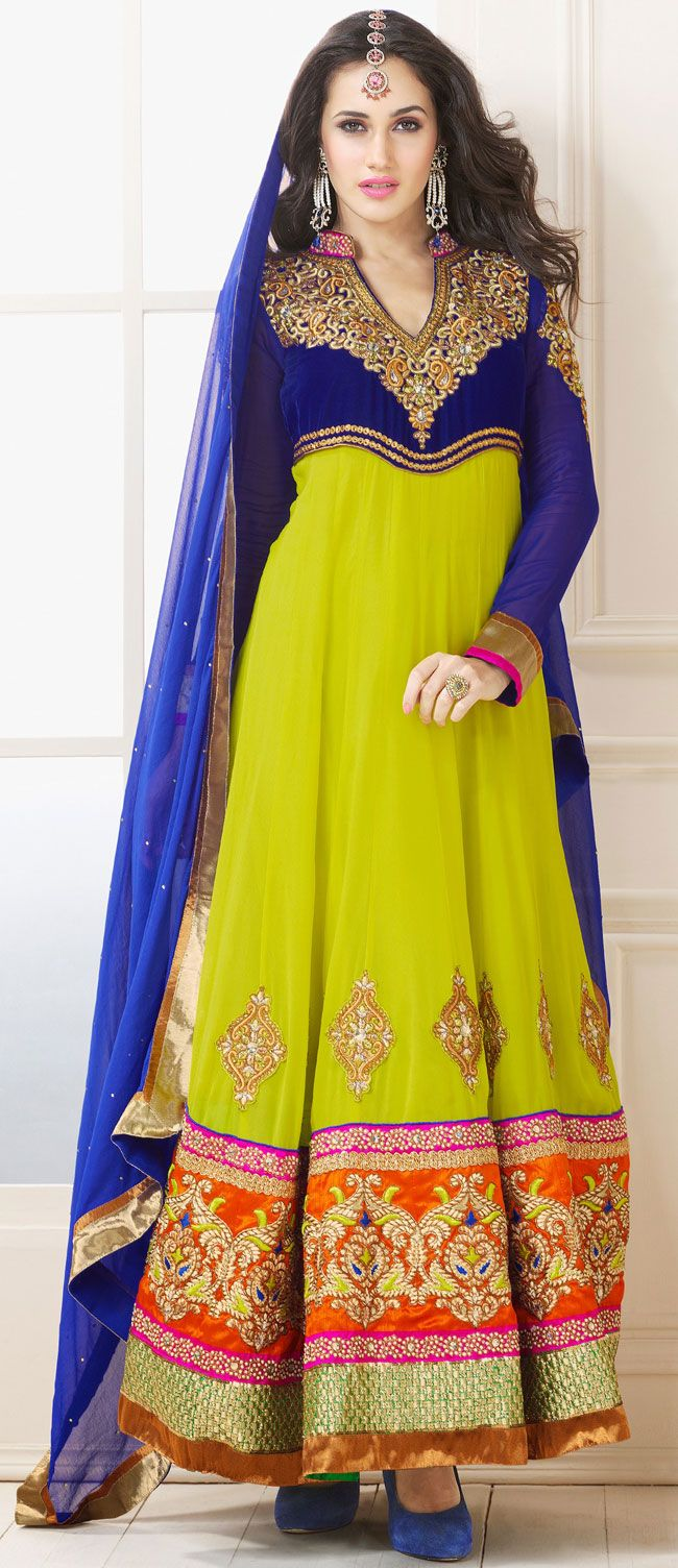 Mahendi Green and Blue Faux Georgette Anarkali Salwar Kameez - IG7629 USD $ 109.23