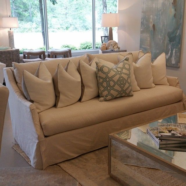 Beautiful New Style Slipcovered Sofa In Stock