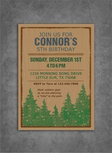 Outdoors Hiking Birthday Party Invitation Printed On Kraft Paper