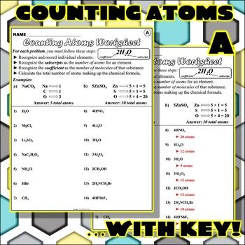 Worksheet Counting Atoms Version A Science Middle