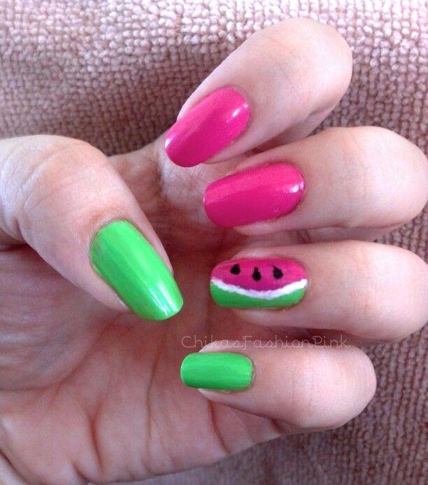 nail #natural #color #beautiful #simple #fruit #green #pink ...