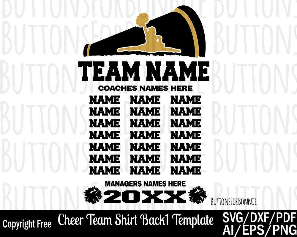 Cheerleader svg cheer template cheer team members svg back