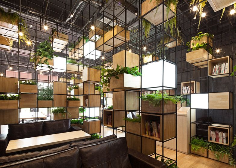 Indoor planting modules home cafe by penda 临时 architecture