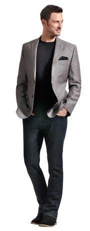 Calvin Klein sport coat in grey herringbone. Grafton 1853 t-shirt ...
