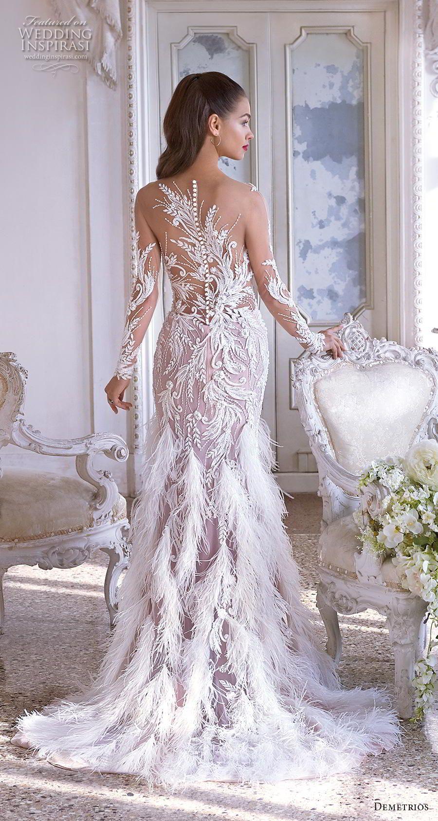 c109dee3f09 demetrios 2019 bridal long sleeves sweetheart neckline full embellishment  feathers hem drop waist a line wedding dress embellished back sweep train  (19) bv ...