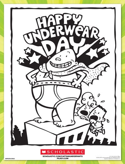 Happy Underwear Day Coloring Sheet  Happy Fans and Captain