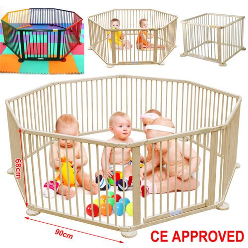 Heavy Duty Child Baby Children Wooden Foldable Playpen Play Pen Room Divider  New