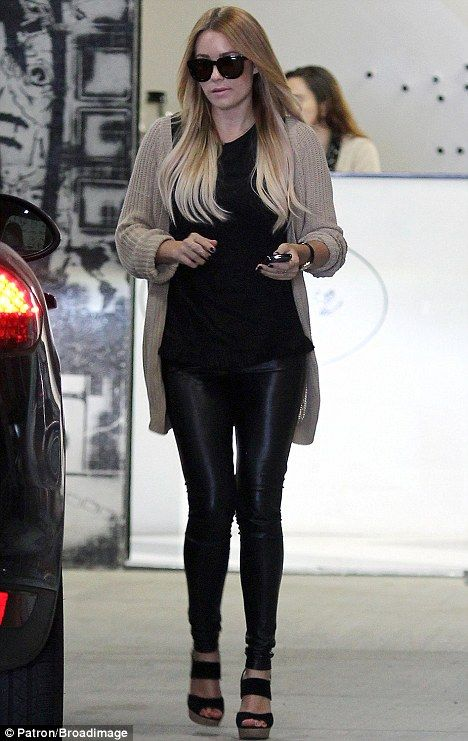 ee98b00a3a4020 Walking tall: Lauren Conrad headed out in Beverly Hills yesterday, clad in  a pair of tight-fitting leather trousers
