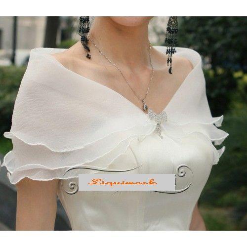 Off White Tulle Wedding Bridal Dress Shawl Wrap Cape Shrug Sku 11203024