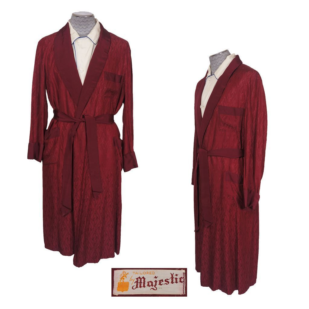 Vintage 50s Maroon Mens Dressing Gown Lounging Robe Majestic M ...