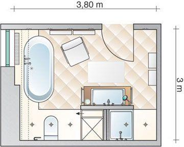 Ein großes Bad wird mit Leben gefüllt - Grundriss - Vorher Nachher ...