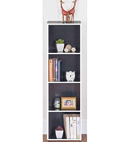 4 TIER BLACK WOODEN BOOKCASE STORAGE SHELVING DISPLAY SHELF UNIT