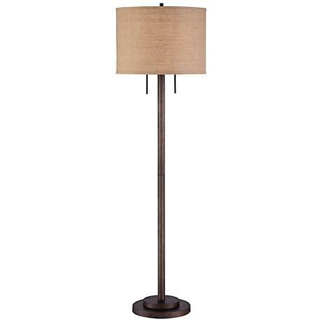 Garth Twin Pull Chain Transitional Bronze Floor Lamp