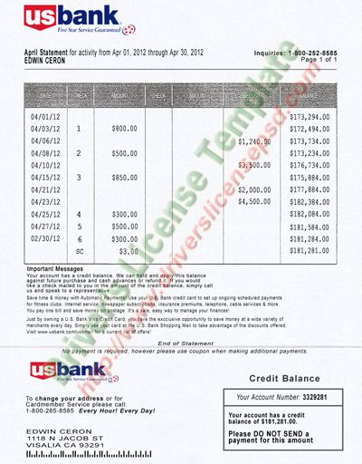 US Bank Statement Psd  Bank Statement Psd    Bank