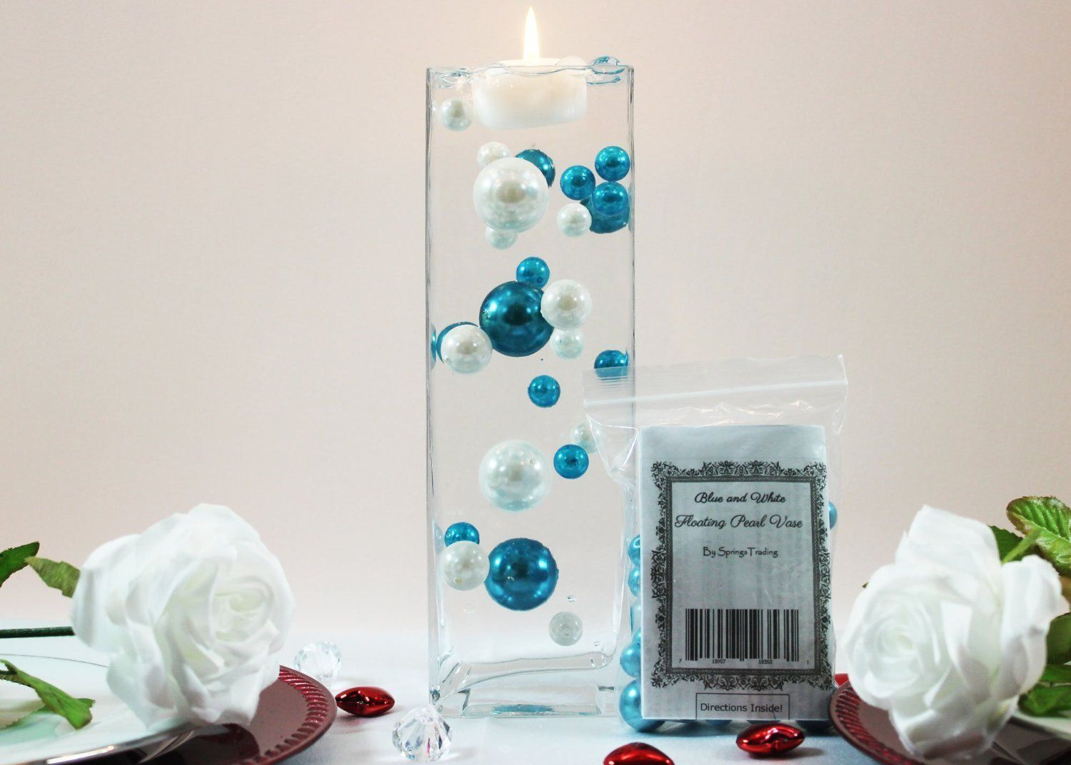 fillers vase teal products turquoise table collections gems diamond scatter wedding