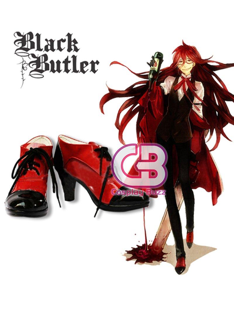 Anime Black Butler Kuroshitsuji Grell Sutcliff Cosplay Shoes Boots